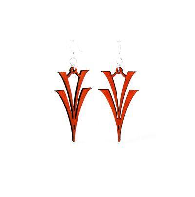 Cherry Red V on V Wood Earrings