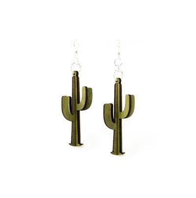 Green 3d cacti wood earrings