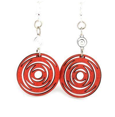 red icircled dangle wood earrings