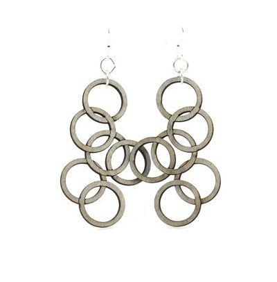 Gray interlocking circle wood earrings