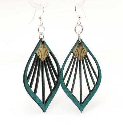 Teal fan leaf palm wood earrings