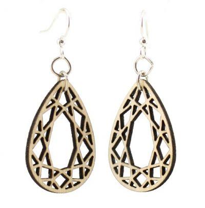 natural wood tear drop wood earrings