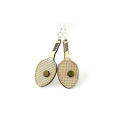 tennis racquet wood earrings