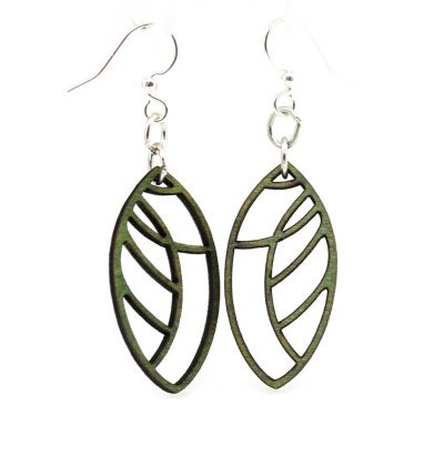 abstract leaf blossom wood earrings