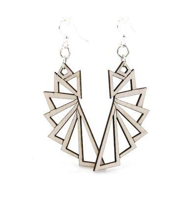 Natural wood triangular wood earrings