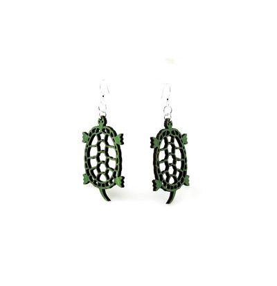 Green Land Turtle Wood Earrings