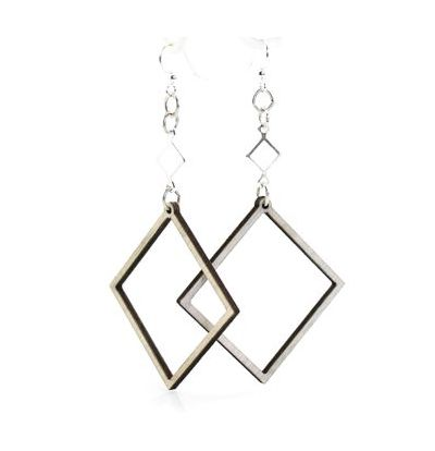 gray open square wood earrings