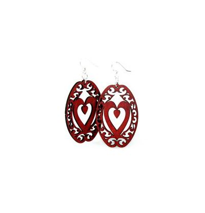 red decorative heart oval wood earrings