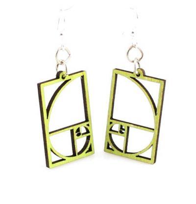 Lime golden ratio blossom wood earrings