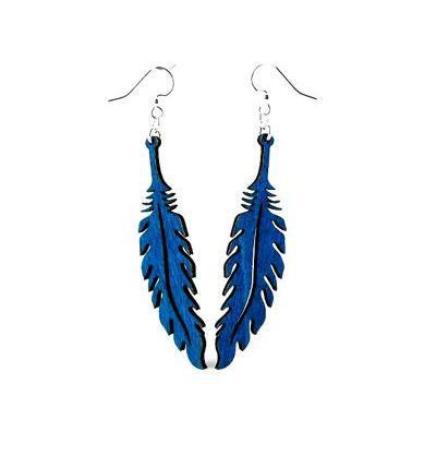 blue feather wood earrings