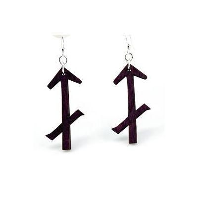 black sagittarius wood earrings