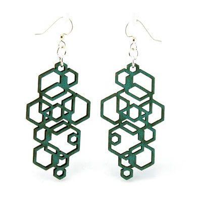 Teal hexagon cluster wood earrings