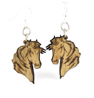 horse profile wood earrings