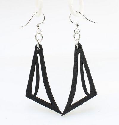 black jawline wood earrings