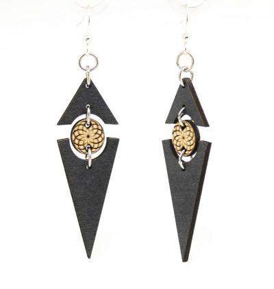 Black satin twilight triangle earrings