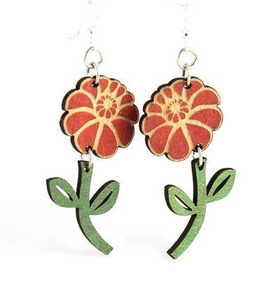 emy flower wood earrings