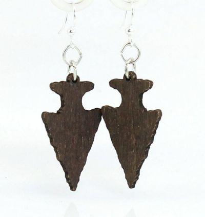 Brown arrow head wood earrings