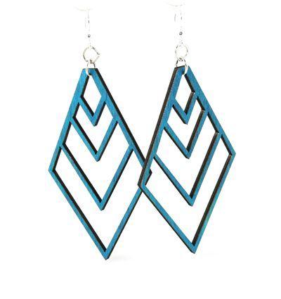 teal upside down fountain pyramid wood earrings