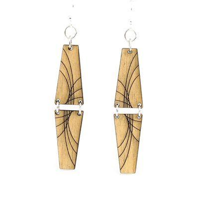 black mirror pyramid wood earrings