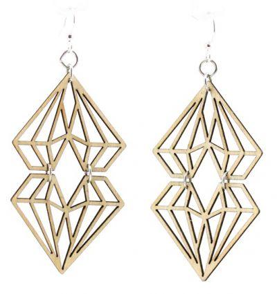 dueling diamond wood earrings