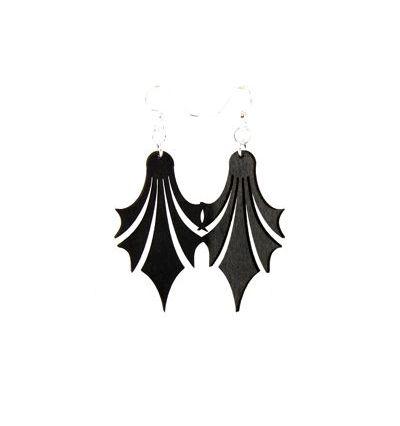 black dropped point wood earrings