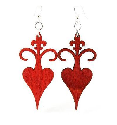 Red rooted fleur de lis wood earrings