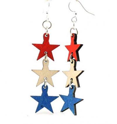 4th of july star wood earrings