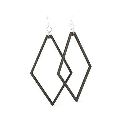 black satin large diamond wood earrings