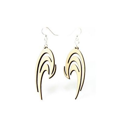 Natural Wood Swoosh wood earrings