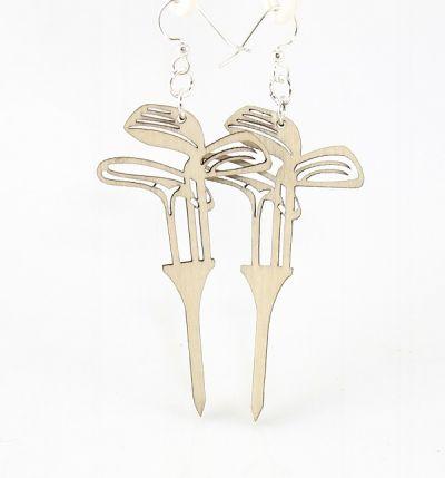 golf set on tees wood earrings