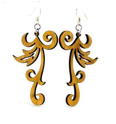 Cinnamon Swishy Scroll Wood Earrings