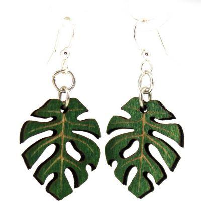 kelly green split leaf blossom earrings