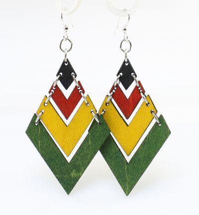 rasta fountain pyramid wood earrings