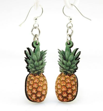 pineapple wood earrings