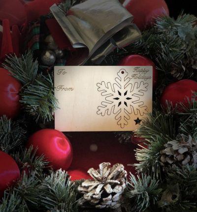 Snowflake Holiday Ornament Card in Natural Wood