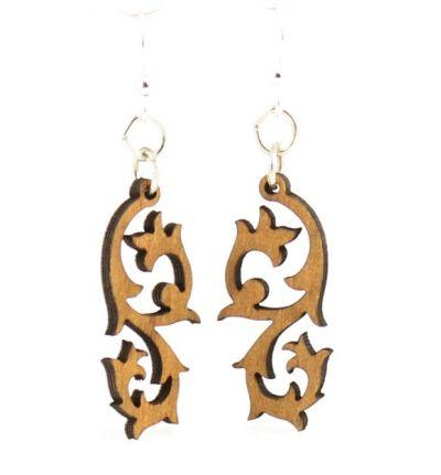 tribal blossom wood earrings
