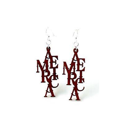 america wood earrings