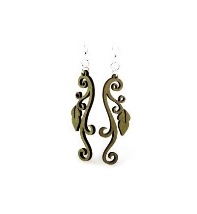 apple green leaves on vine earrings