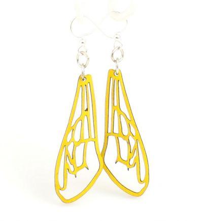 Yellow Bee Wing Wood Earrings