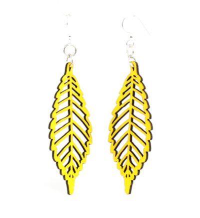 lemon yellow autumn leaf wood earrings