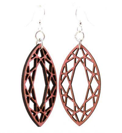 fuschia marquise diamond wood earrings