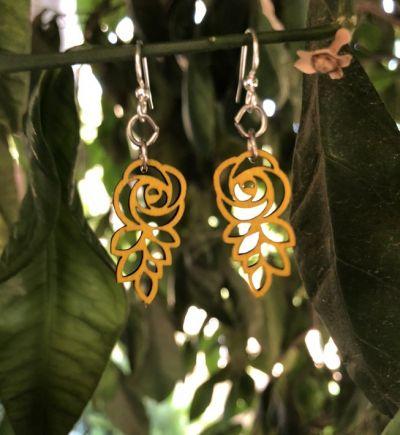 lemon yellow rose blossom earrings