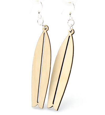 Natural Wood Surfboard wood earrings