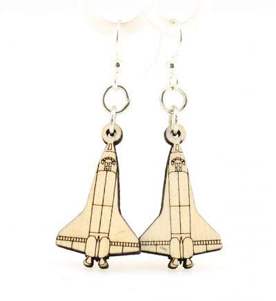 natural wood space shuttle wood earrings