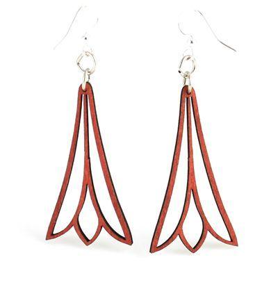 fuschia trumpet flower wood earrings