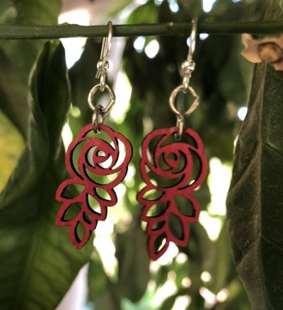 cherry red leafed blossom rose earrings