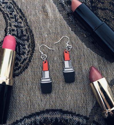 lipstick wood earrings