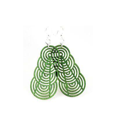 green ascending interlockling circle earrings
