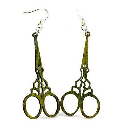 Apple Green Scissor Wood earrings