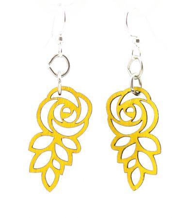 lemon yellow leafed blossom rose earrings
